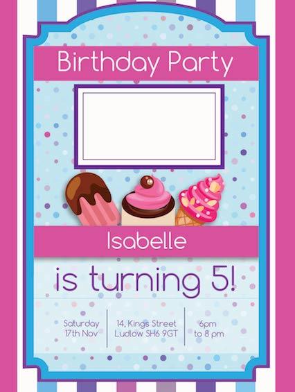 Pink Purple Candy Stripes Cupcakes Ice Cream Girls Birthday Invitation