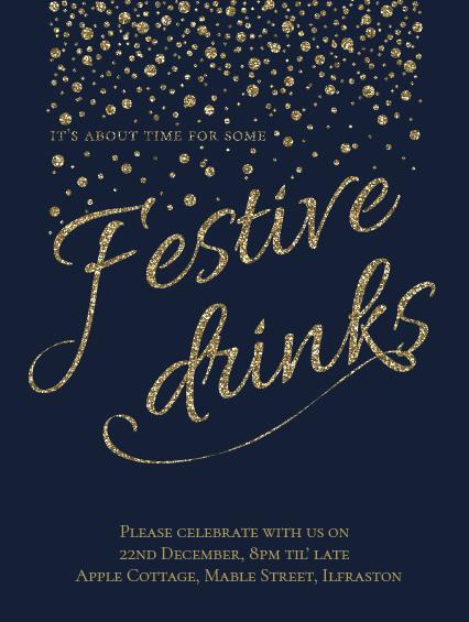 Gold Sparkle Festive Drinks Invitation